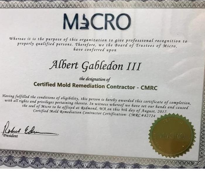 Certified Mold Remediation Contractor (CMRC) awarded to Albert Gabledon