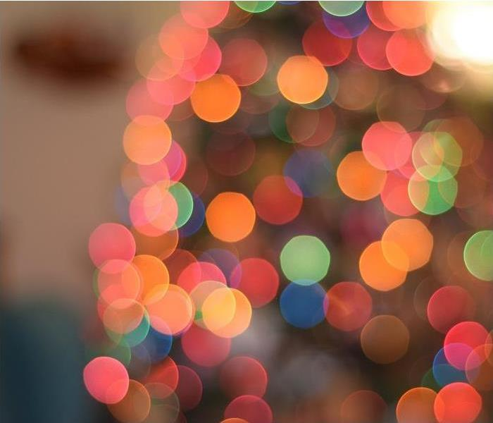 Close up of Holiday Lights; Lights blurred